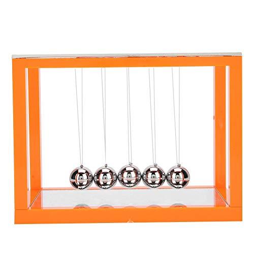 Newton Cradle Pendulum Balls, 5 stalen balansballen met spiegel Fysieke stress speelgoed voor thuiskantoor Ornament Gift(Oranje)