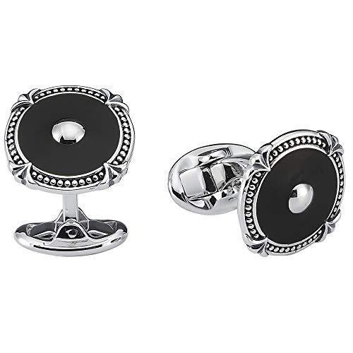 Vinani Design Manschettenknöpfe Onyx rund Muster Kugel geschwärzt glänzend 925 Sterling Silber Herren Anzug Hemd 2MAE