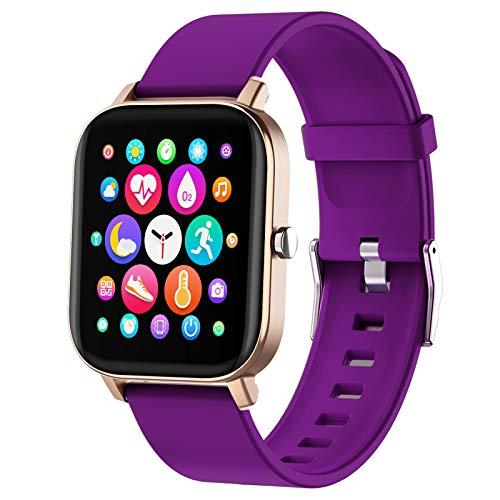 PUBU Reloj inteligente, pantalla táctil a color, reloj de pulsera de fitness con pulsómetro, rastreador de fitness IP73, resistente al agua, Bluetooth, podómetro