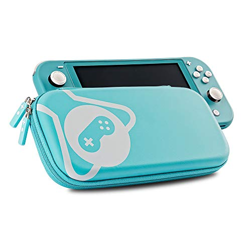 Funlab Ultra Slim Case and Screen Protector for Nintendo Switch Lite,Portable Hard Shell Travel Carrying Storage with Game Cartridges - Turquoise Blue
