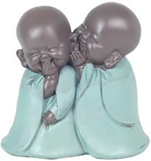 CAPRILO Figura Budista Decorativa de Resina 2 Niños Buda Riendo Adornos y Esculturas. Regalos Originales. Decoración Hoga...