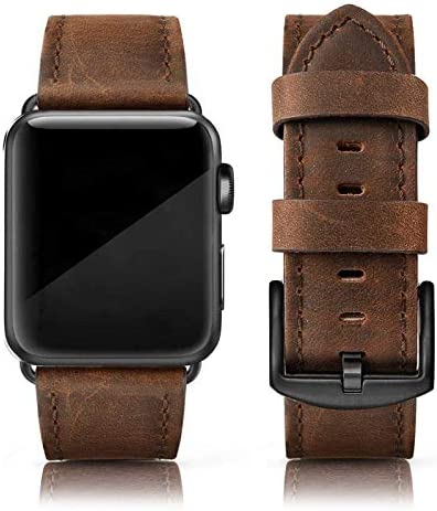 EDIMENS Leather Bands Compatible with Apple Watch 42mm 44mm Band Men Women Vintage Genuine Leather product image