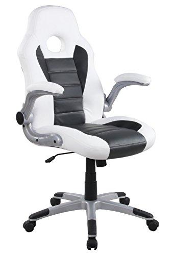 Eurosilla bureaustoel/bureaustoel van synthetisch leer, wit, 62 x 60 x 116 cm
