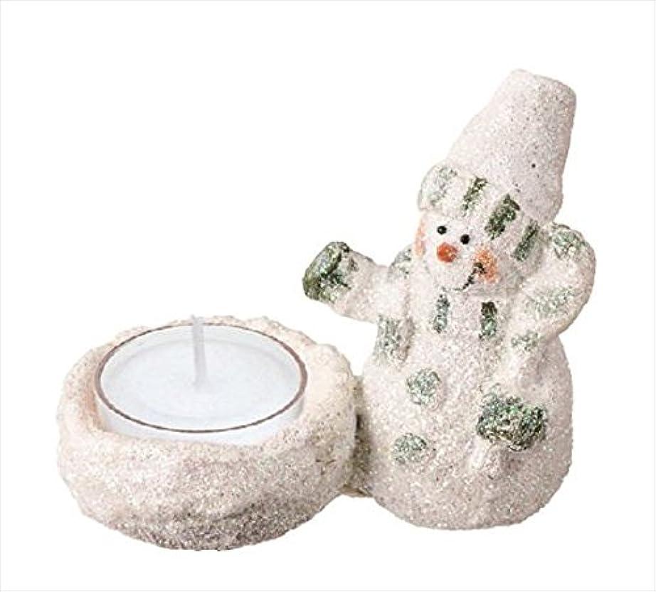 グラムことわざ明示的にカメヤマキャンドル(kameyama candle) グリッタースノーマンホルダー 「 グリーン 」