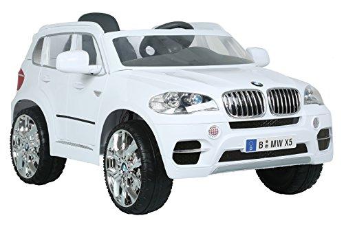 Rollplay Elektrische auto met achteruitversnelling, voor kinderen vanaf 3 jaar, tot maximaal 35 kg, 6 volt accu, tot 4 km/h, BMW X5 SUV, wit.