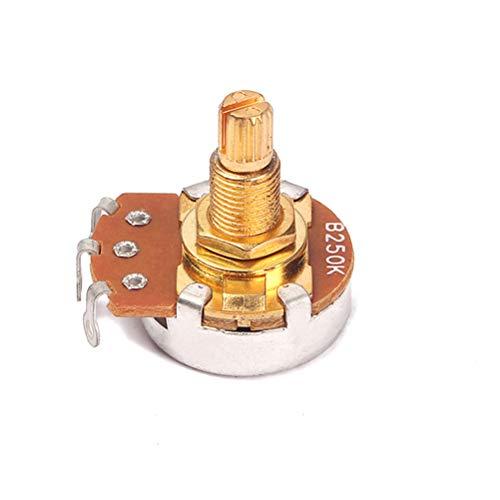 Supvox Gitarrenpotentiometer Shaft B250K Split Shaft Curved Pot Lange gerändelte Lautstärke- und Klangregler für Gitarrenzubehör (Gold) 18mm