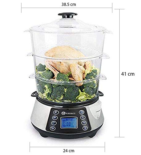 NaturoPure Food Steamer 11.5L Capacity, 3 Tier BPA Free Electric Steamer, 6 Preset Cooking Mode,99 Minutes Timer & 800W Including a Rice Bowl