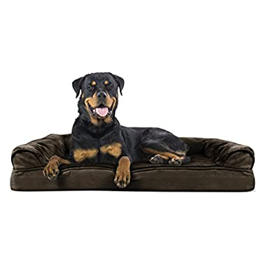 FurHaven Ultra Plush/Velvet Orthopedic Dog Couch Sofa Bed for Dogs and Cats, Plush Espresso, Jumbo