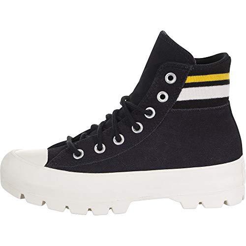 Converse Chuck Taylor All Star Lugged Varsity - Zapatillas de Deporte para Mujer, Color Negro, Amarillo y Gris