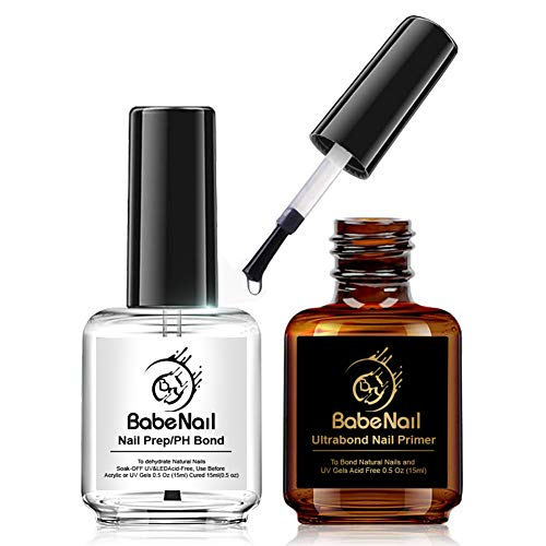 BabeNail Nail Prep Dehydrate & Bond Primer, Nail Protein Bond, 2PCS Professional Long Lasting Natural Air Dry Superior Bonding Primer for Acrylic Powder and Gel Nail Polish 0.5 oz