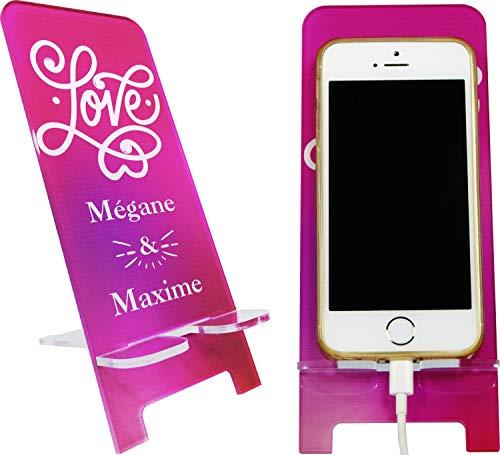 Support de Téléphone portable Personnalisable – Love you Forever – Cadeau de Saint valentin - contrairement à une coque de Smartphone : socle universel toute marque et modèle mobile – Iph.SvM