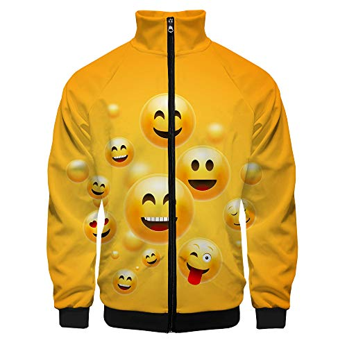The Emoji Movie Pullover Moda clásica Sudadera Transpirable Ocio Abrigos Delgados Suaves algodón Bonito Jersey Hombres Ligero Outwear Outwear Invierno Cálido Chaqueta Deportiva Unisex