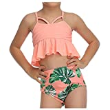 Xuthuly Mama und mädchen Sommer süß aushöhlen rüschen Riemchen Tops + hohe Taille unten 2 stück Badeanzug Familie passenden Badebekleidung