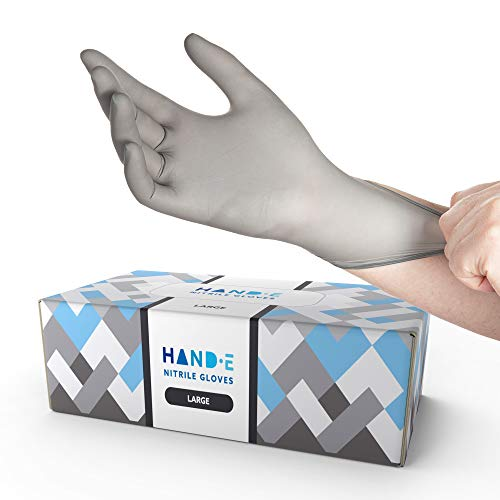 Hand-E Disposable Grey Nitrile Gloves Large -200 Count, Powder Free, Latex Free