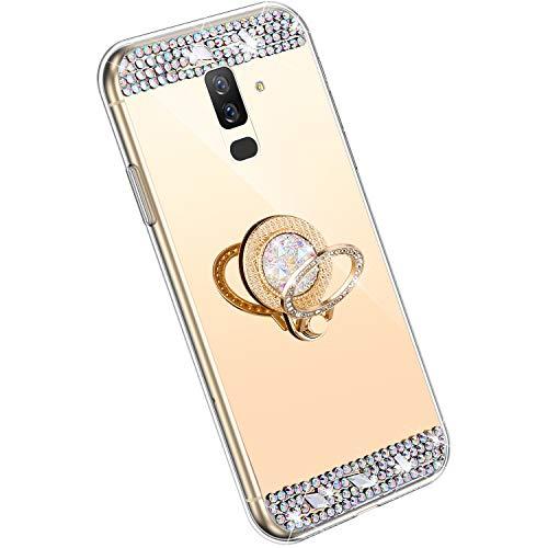 Hpory Glitzer Hülle Kompatibel mit Samsung Galaxy A6 Plus 2018 Hülle - Glänzend Strass Diamant TPU Silikon Schutzhülle Spiegel Handyhülle, 360 Grad Ring Ständer Durchsichtig Handyhülle Case/Gold