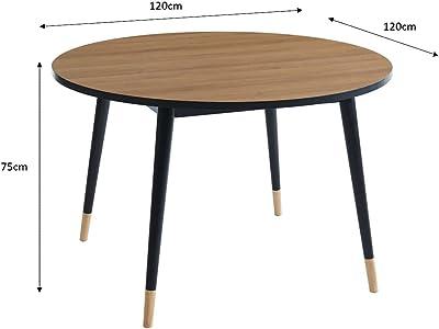 BAÏTA Table, Effet Bois, L120 x P120 x H75 cm