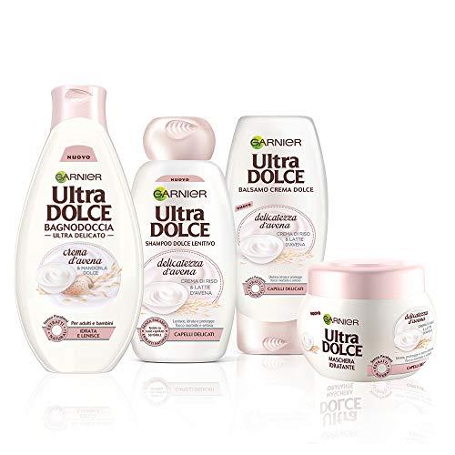 Garnier Shampoo + Balsamo + Maschera + Bagnoschiuma Dolce, Kit Con Shampoo, Balsamo, Maschera e...