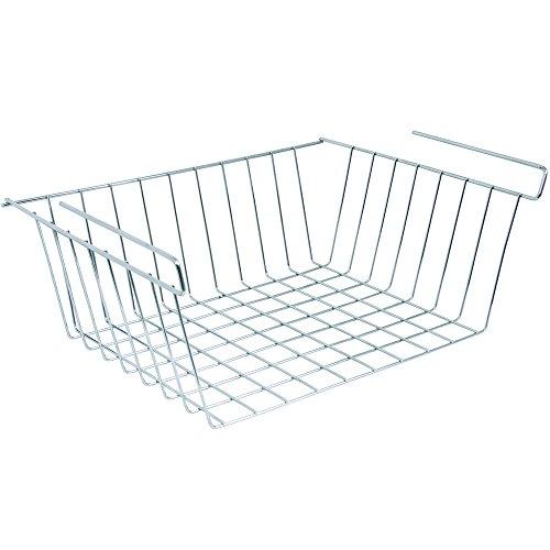 MSV Hängekorb aus Metall - 30,5x24x13,5cm - Silber - Aufbewahrungs-Korb für Küchenschränke Kleiderschränke Regale Unterbauschrank Unterbau-Regal
