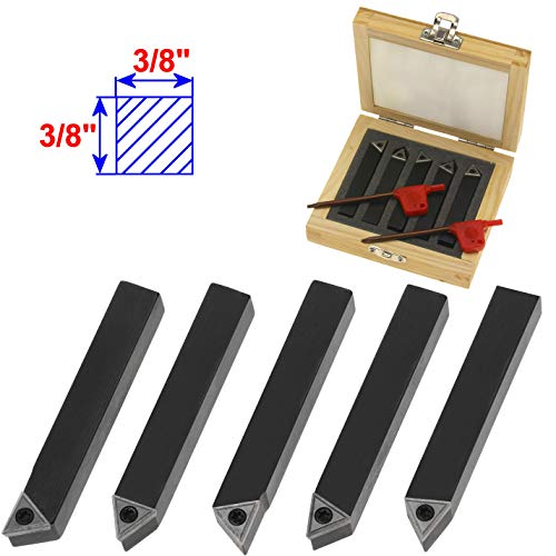 "Anytime Tools 5 Piece 3/8"" Mini Lathe Indexable Carbide Insert Tool Bit Set"