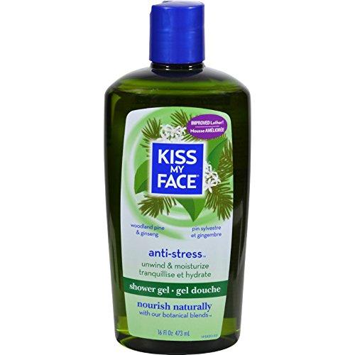 Kiss My Face - El relajar del gel del baño y de la ducha Contra-Tensiona el pino y el Ginseng del arbolado - 16 oz.