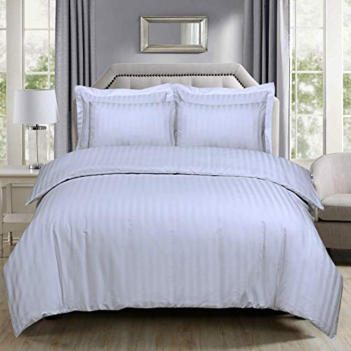 Divine Textiles 300 Thread Count 100% Egyptian Cotton Satin Stripes Duvet Cover Set Hotel Quality, King - White