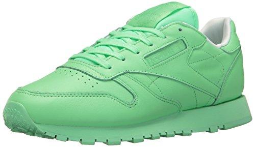 Reebok Women's Classic LTHR Pastels Running Shoe, Mint Green/White, 6 M US