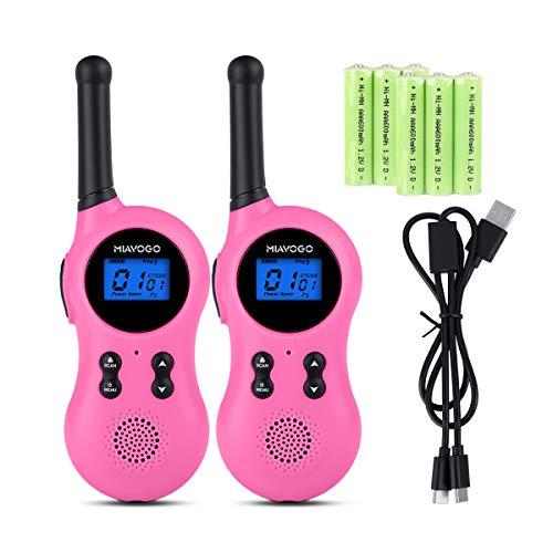 Miavogo 2 x Walkie Talkie Set für Kinder Funkgerät PMR 2-Wege Radio 8 Kanäle 3Km Reichweite mit LC-Display (Rosa)
