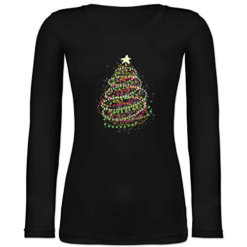Weihnachten & Silvester - Abstrakter Weihnachtsbaum - M - Schwarz - Weihnachten Bekleidung Damen - BCTW071 - Langarmshirt Damen