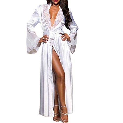 YO-HAPPY Vestido Largo de Encaje Sexy con Cuello en V para Mujer, Bata de baño Ligera, camisón de Seda de Hielo
