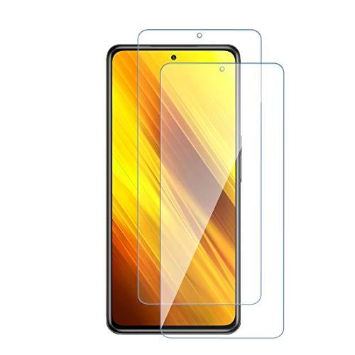 Panzerglas Schutzfolie für Xiaomi Poco X3 NFC Klar Displayschutzfolie aus gehärtetem Glas kompatibel mit Xiaomi Poco X3 NFC [Anti-Kratzen] [Blasenfrei] [Einfacher Montage] [9-H-Härte][2 Stücke]