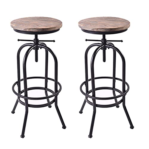 URINGO Taburete de Bar Industrial, sillas de Altura para mostrador, Asiento Giratorio de Madera, Taburete de Bar Ajustable para mostrador de Cocina, Islas de Cocina y Pub