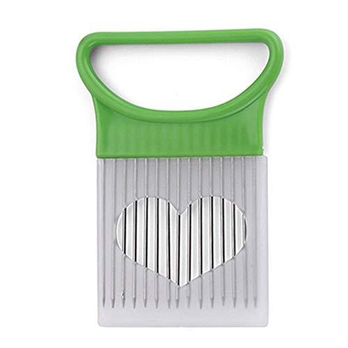 Inox 1 pcs légumes en plastique en acier inoxydable Slicer polyvalent oignon Cutter métal viande Needle Accessoires de cuisine Gadgets Cutter tomate ambidextre (Color : Green Onion Slicer)
