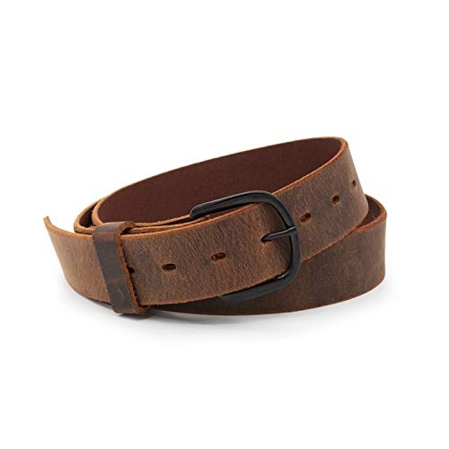 Bootlegger Leather Belt | Made in USA | Brown with Black Buckle - 36