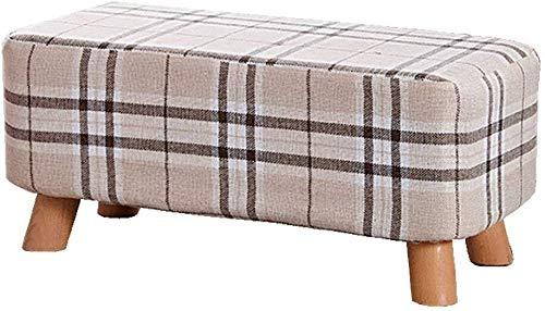 Yxsd Reposapiés Pufs Puff de madera, cambiador de zapatos, cojín de maquillaje, asiento de salón (28 x 29 x 60 cm)