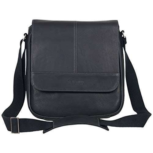 Kenneth Cole REACTION Manhattan Full-Grain Colombian Leather Anti-Theft RFID Crossbody Tablet Bag, Black, 12.1'
