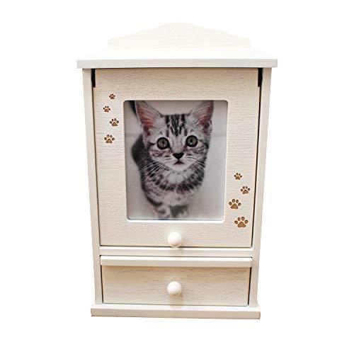 ペット仏壇 メモリアルハウス ホワイト 肉球 あしあと刻印入り かわいい スライド扉 骨壺収納