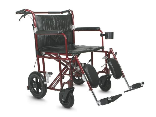 "Medline Heavy Duty Bariatric Transport Chair, Extra Wide 22"" Seat, Permanent Full-Length Arms, Elevating Legrests, Red Frame"