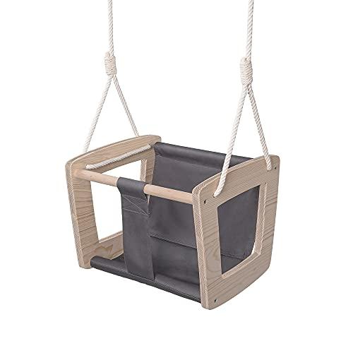 MAMOI Babyschaukel Schaukel Baby Holzschaukel Erwaschsene Indoor Designer Kinderschaukel Schaukelsitz Babysitz Holz ECO bis 30kg! | Made in EU ECO | CE-Zertifikat (In der Farbe Grau)