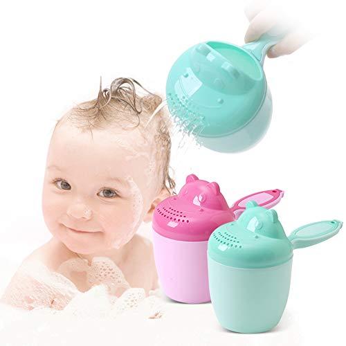 Enticerowts Taza de enjuagar, linda Hippo Baby baño ducha Champú enjuague taza de pelo cuchara de lavado con mango fácil de usar rosa