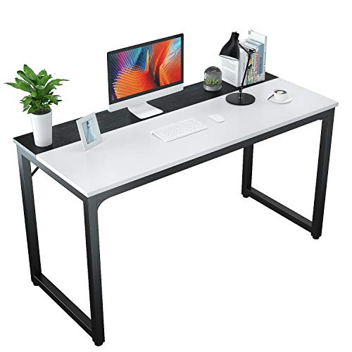 "Foxemart 55"" Computer Desks Modern Office Table, Sturdy 55 Inch PC Laptop Writing Gaming Study Desk for Home Office Workstation, White and Black"