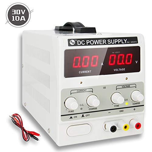 RoMech 30V 10A DC Power Supply Variable - Adjustable Switching Regulated Bench Power Supply (Stable Outputs, Alligator Leads & Spare Fuse Included)