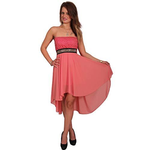 Moda Italia Chiffon Kleid Vokuhila Bandau Spitze Strass Cocktailkleid Partykleid (34-38, Apricot)