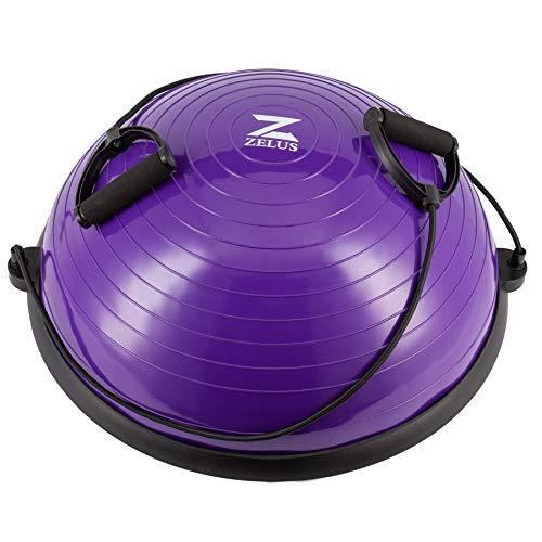 Z ZELUS 58cm Balance Ball Trainer Anti-Rutsch Balance Ball Halbkugel Balance Board mit Widerstandsbändern Gymnastikball für Yoga Fitness, Krafttraining, Core Training, Gleichgewichtstraining (Violett)