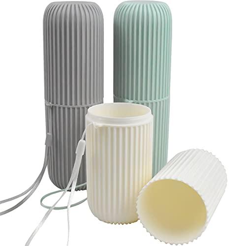 3 Piezas Vaso de Cepillo de Dientes de Viaje, Estuche de Cepillo de Dientes de Plástico de Viaje Portátil Estuche Cepillo de Dientes Multifunción para Viajes Tazas de Gárgaras para Viaje