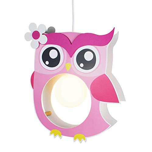 elobra lámpara infantil para techo con búho, madera, habitación de los Niños, rosa, a + +