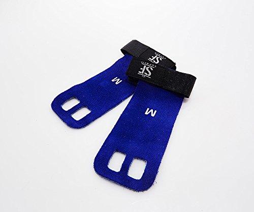 Suprfit Gymnastic Grips |Handschuhe | Trainingshandschuh | Turn Riemchen | Handschutz | Crossfit Turnen Fitness | Schützt Hände vor Rissen und Schwielen | Leder | M Blau