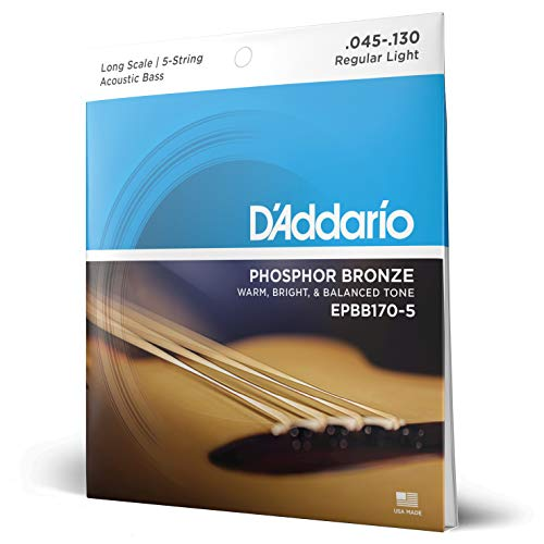 D'Addario EPBB170-5 - Juego de cuerdas para bajo acústico de fósforo/bronce.045 -...