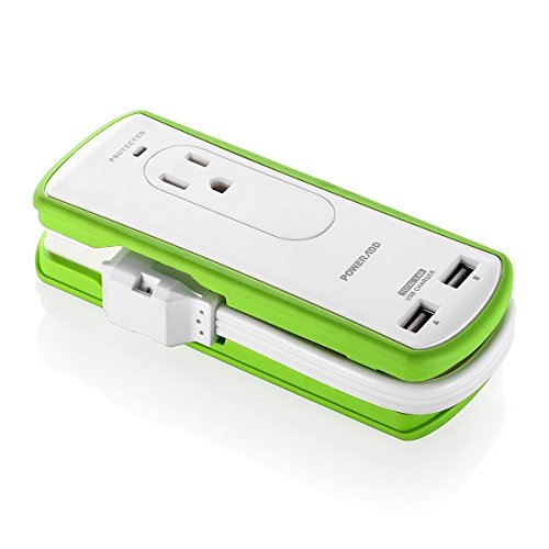 POWERADD Mini Portable Travel Surge Protector Power Strip 2 Outlets with Dual USB Ports 3.4A Wrapped Cord Design - UL Listed
