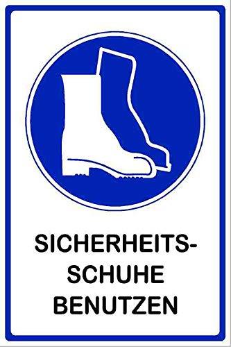Kleberio® Gebots Schild 30 x 20 cm - Sicherheitsschuhe benutzen - stabile Aluminiumverbundplatte