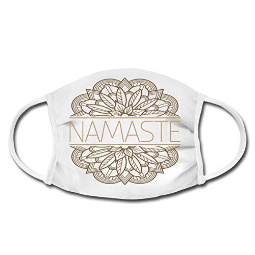 Spreadshirt Namaste Yoga Blumen Mandala Mund-Nasen-Bedeckung, Weiß